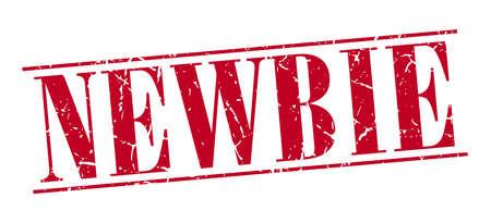 newbie: newbie red grunge vintage stamp isolated on white background Illustration