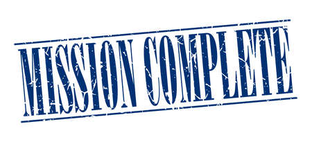 accomplish: mission complete blue grunge vintage stamp isolated on white background