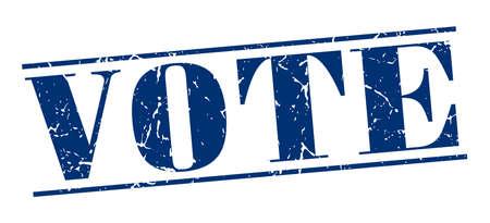 democrats: azul del voto del sello del grunge de la vendimia aislado en el fondo blanco