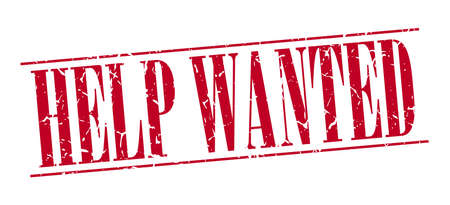 help wanted sign: help wanted red grunge vintage stamp isolated on white background Illustration