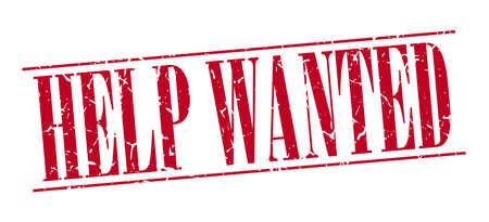 help wanted sign: Help Wanted sello de la vendimia del grunge rojo aislado sobre fondo blanco