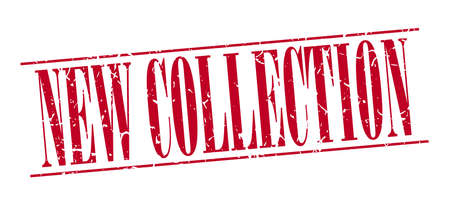 new collection: new collection red grunge vintage stamp isolated on white background Illustration