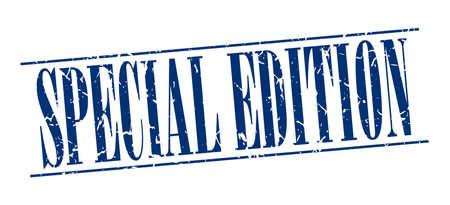 edizione straordinaria: edizione speciale blu grunge vintage timbro isolato su sfondo bianco Vettoriali