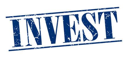 invest: invest blue grunge vintage stamp isolated on white background Illustration