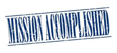 accomplish: mission accomplished blue grunge vintage stamp isolated on white background Illustration