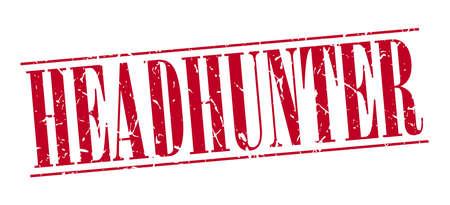 headhunter: headhunter red grunge vintage stamp isolated on white background Illustration