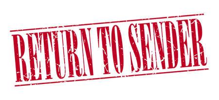 sender: return to sender red grunge vintage stamp isolated on white background Illustration