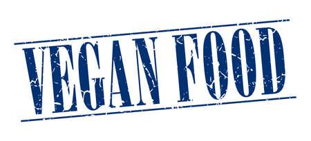 vegan food: vegan food blue grunge vintage stamp isolated on white background Illustration