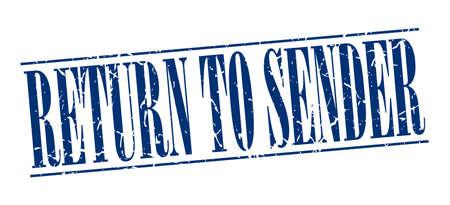 sender: return to sender blue grunge vintage stamp isolated on white background