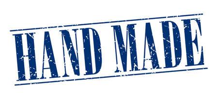 hand made: hecho a mano sello azul del grunge de la vendimia aislado en el fondo blanco