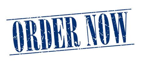 order now: order now blue grunge vintage stamp isolated on white background Illustration
