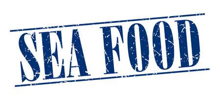 sea food: sea food blue grunge vintage stamp isolated on white background