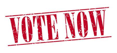 democrats: Vota ahora rojo del sello del grunge de la vendimia aislado en el fondo blanco Vectores