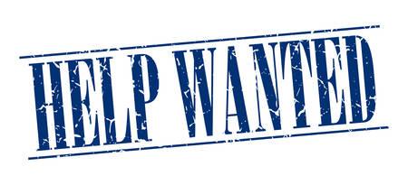 help wanted sign: Help Wanted azul del sello del grunge de la vendimia aislado en el fondo blanco