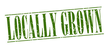 grown: locally grown green grunge vintage stamp isolated on white background Illustration