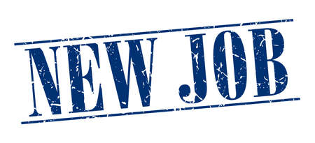 new job: new job blue grunge vintage stamp isolated on white background