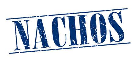 nachos: nachos blue grunge vintage stamp isolated on white background