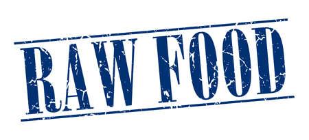 rindfleisch roh: Rohkost blau Grunge Vintage-Stempel isoliert auf wei�em Hintergrund