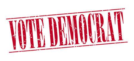 democrat: vote democrat red grunge vintage stamp isolated on white background