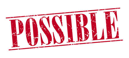possible: possible red grunge vintage stamp isolated on white background