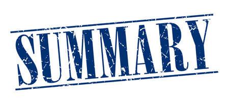 summary: summary blue grunge vintage stamp isolated on white background