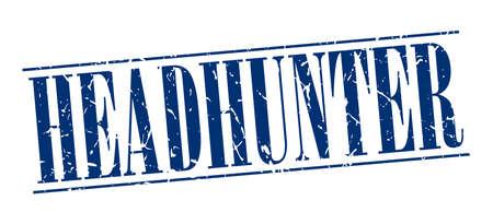 headhunter: headhunter blu d'epoca grunge timbro isolato su sfondo bianco