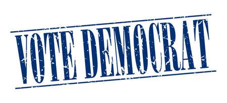 democrats: Voto Dem�crata sello azul del grunge de la vendimia aislado en el fondo blanco