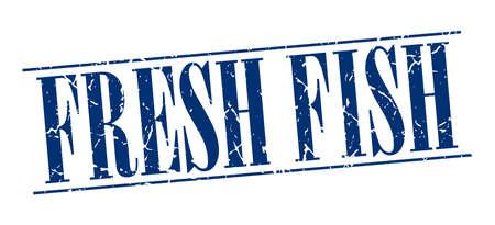 fresh fish: fresh fish blue grunge vintage stamp isolated on white background Illustration
