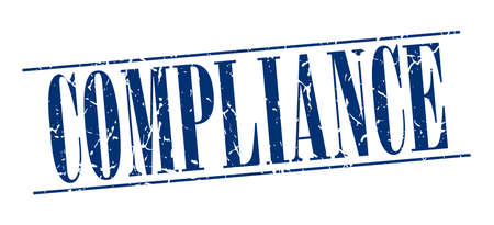 compliance: compliance blue grunge vintage stamp isolated on white background Illustration