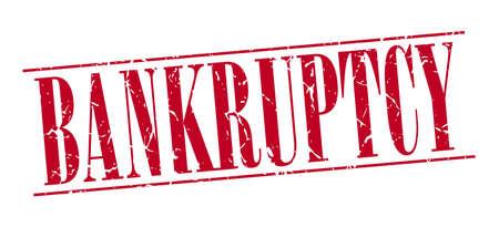 faillite: faillite rouge grunge timbre cru isol� sur fond blanc