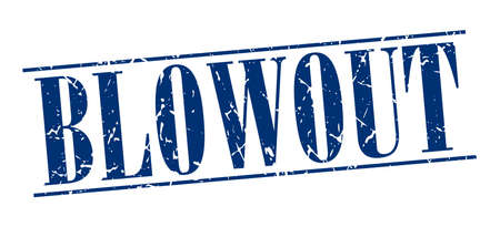 blowout: blowout blue grunge vintage stamp isolated on white background