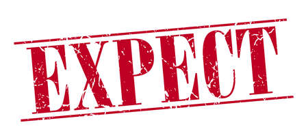 expect: expect red grunge vintage stamp isolated on white background Illustration