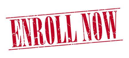 enroll: enroll now red grunge vintage stamp isolated on white background Illustration