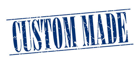custom made: custom made blue grunge vintage stamp isolated on white background Illustration