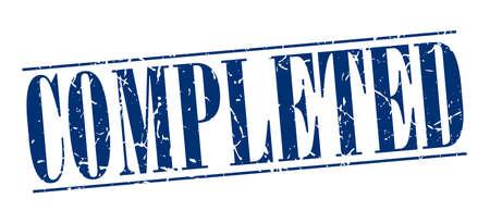 completato: completato blu d'epoca grunge timbro isolato su sfondo bianco