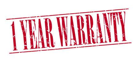 one year warranty: 1 year warranty red grunge vintage stamp isolated on white background