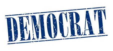 democrat: democrat blue grunge vintage stamp isolated on white background