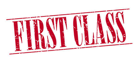 first class: first class red grunge vintage stamp isolated on white background