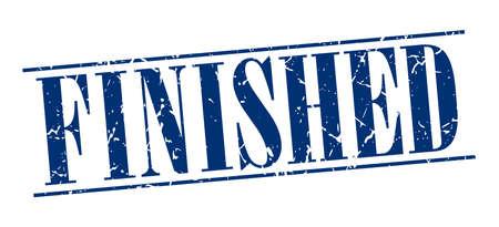 finished: finished blue grunge vintage stamp isolated on white background Illustration