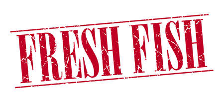 fresh fish: fresh fish red grunge vintage stamp isolated on white background