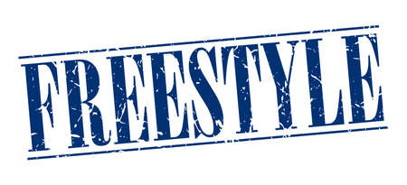 freestyle: freestyle blue grunge vintage stamp isolated on white background