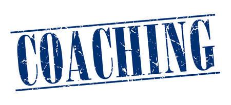 coaching: encadrement bleu grunge timbre cru isol� sur fond blanc