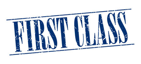 first class: first class blue grunge vintage stamp isolated on white background