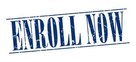 enroll: enroll now blue grunge vintage stamp isolated on white background