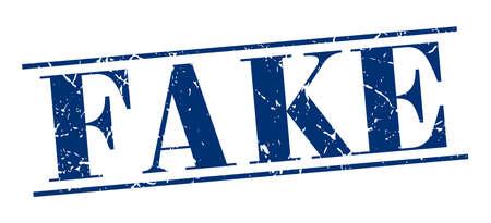 fake: fake blue grunge vintage stamp isolated on white background