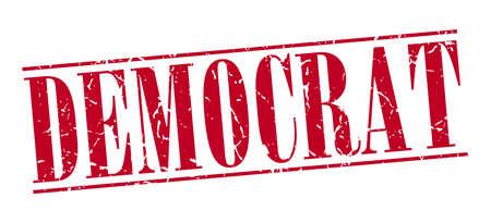 democrats: dem�crata grunge sello rojo de la vendimia aislado en el fondo blanco