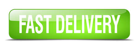 fast delivery: fast delivery green square 3d realistic isolated web button