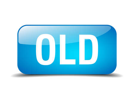 old square: old blue square 3d realistic isolated web button