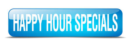specials: happy hour specials blue square 3d realistic isolated web button Illustration