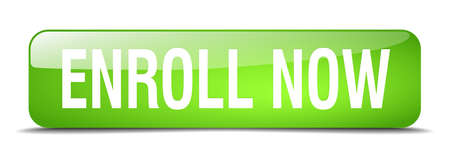 enroll: enroll now green square 3d realistic isolated web button